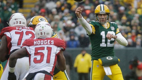 <p>               Green Bay Packers quarterback Aaron Rodgers throws a pass during the first half of an NFL football game against the Arizona Cardinals Sunday, Dec. 2, 2018, in Green Bay, Wis. (AP Photo/Mike Roemer)             </p>