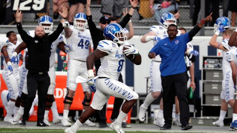 <p>               FILE - In this Dec. 1, 2018, file photo, Memphis running back Darrell Henderson runs for a touchdown against Central Florida during the first half of the American Athletic Conference championship game, in Orlando, Fla. Henderson was named to the 2018 AP All-America NCAA college football team, Monday, Dec. 10, 2018. (AP Photo/John Raoux, File)             </p>