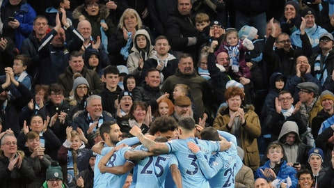 <p>               Manchester City's Raheem Sterling celebrates with teammates after scoring his side's second goal during the English Premier League soccer match between Manchester City and Bournemouth at Etihad stadium in Manchester, England, Saturday, Dec. 1, 2018. (AP Photo/Rui Vieira)             </p>