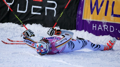 <p>               Germany's Stefan Luitz reacts after the second run of a Men's World Cup giant slalom skiing race Sunday, Dec. 2, 2018, in Beaver Creek, Colo. (AP Photo/Nathan Bilow)             </p>