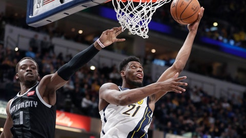 <p>               Indiana Pacers forward Thaddeus Young (21) shoots in front of Detroit Pistons guard Reggie Jackson (1) during the second half of an NBA basketball game in Indianapolis, Friday, Dec. 28, 2018. The Pacers defeated the Pistons 125-88. (AP Photo/Michael Conroy)             </p>