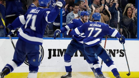 <p>               Tampa Bay Lightning left wing Alex Killorn (17) celebrates his overtime goal against the Philadelphia Flyers with defenseman Victor Hedman (77) during an NHL hockey game Thursday, Dec. 27, 2018, in Tampa, Fla. The Lightning won 6-5. (AP Photo/Chris O'Meara)             </p>