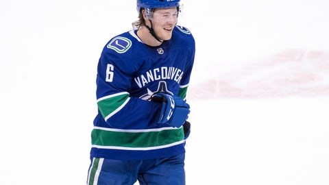 <p>               Vancouver Canucks' Brock Boeser celebrates his goal against the Philadelphia Flyers during the second period of an NHL hockey game in Vancouver, British Columbia, on Saturday, Dec. 15, 2018. (Darryl Dyck/The Canadian Press via AP)             </p>