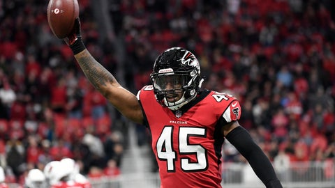 <p>               FILE - In this Sunday, Dec. 16, 2018, file photo, Atlanta Falcons linebacker Deion Jones (45) runs back to the bench after he returned an interception for touchdown during the first half of an NFL football game against the Arizona Cardinals in Atlanta. When healthy, Jones is a big-time playmaker the Falcons defense has sorely lacked. (AP Photo/Danny Karnik, File)             </p>