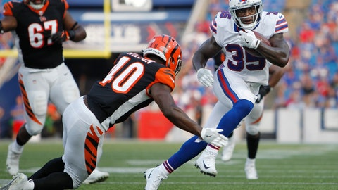 <p>               FILE - In this Aug. 26, 2018, file photo, Buffalo Bills running back Keith Ford (35) rushes past Cincinnati Bengals' Brandon Wilson (40) during the second half of a preseason NFL football game in Orchard Park, N.Y. The Bills have promoted Ford from their practice squad to provide insurance with starter LeSean McCoy and backup Chris Ivory nursing injuries. (AP Photo/Jeffrey T. Barnes, File)             </p>