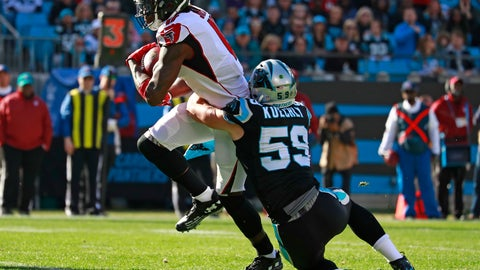 <p>               Atlanta Falcons' Julio Jones (11) is tackled by Carolina Panthers' Luke Kuechly (59) during the first half of an NFL football game in Charlotte, N.C., Sunday, Dec. 23, 2018. (AP Photo/Jason E. Miczek)             </p>