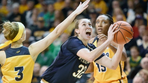 <p>               Notre Dame forward Jessica Shepard (32) drives to the basket between Toledo guard Mariella Santucci (3) and center Kaayla McIntyre (15) during the first half of an NCAA college basketball game Saturday, Dec. 8, 2018, in Toledo, Ohio. (AP Photo/David Richard)             </p>