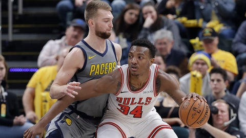 <p>               Chicago Bulls' Wendell Carter Jr. (34) is defended by Indiana Pacers' Domantas Sabonis during the first half of an NBA basketball game, Tuesday, Dec. 4, 2018, in Indianapolis. (AP Photo/Darron Cummings)             </p>