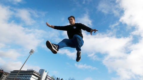 <p>               Parkour co-founder Chau Belle trains in a park in Paris, Thursday, Dec. 20, 2018. Belle was one of nine co-founders of the street sport born in the suburbs of Paris in the 1990s. Parkour is involved in a custody battle now with gymnastics, whose leaders are trying to take the sport under their wing. (AP Photo/Christophe Ena)             </p>