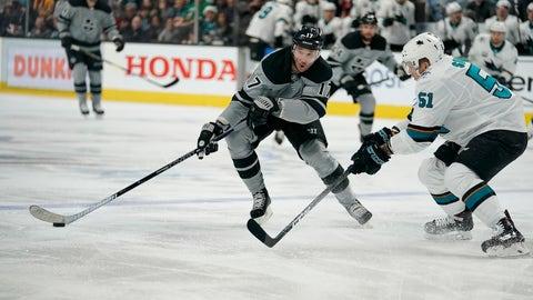 <p>               Los Angeles Kings left wing Ilya Kovalchuk (17) moves the puck upice as San Jose Sharks defenseman Radim Simek (51) defends during the second period of an NHL hockey game in San Jose, Calif., Saturday, Dec. 22, 2018. (AP Photo/Tony Avelar)             </p>