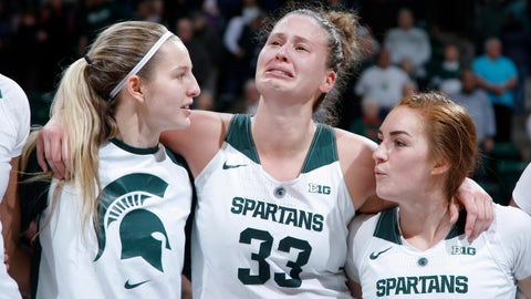 <p>               As she stands with Michigan State teammates Claire Hendrickson, left, and Taryn McCutcheon, right, Jenna Allen, center, reacts after leading an upset of Oregon in an NCAA college basketball game, Sunday, Dec. 9, 2018, in East Lansing, Mich. (AP Photo/Al Goldis)             </p>