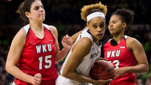 <p>               Notre Dame's Brianna Turner (11) turns downcourt after rebounding the ball between Western Kentucky's Raneem Elgedawy (15) and Jae'Lisa Allen (13) during the first half of an NCAA college basketball game Wednesday, Dec. 19, 2018, in South Bend, Ind. (AP Photo/Robert Franklin)             </p>
