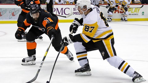 <p>               Sidney Crosby (87) has a shot deflected by Philadelphia Flyers' Radko Gudas (3) during the second period of an NHL hockey game in Pittsburgh, Saturday, Dec. 1, 2018. (AP Photo/Gene J. Puskar)             </p>
