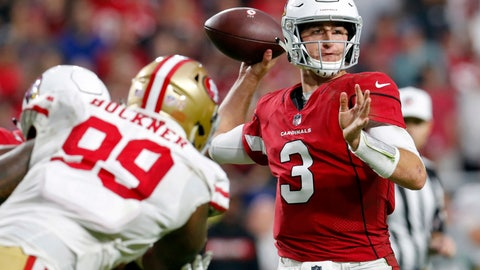 "<p>               FILE - In this Sunday, Oct. 28, 2018, file photo, Arizona Cardinals quarterback Josh Rosen (3) throws as San Francisco 49ers defensive tackle DeForest Buckner (99) pursues during the second half of an NFL football game in Glendale, Ariz. Embracing his Judaism, Rosen has developed a celebration dance called ""The Hebrew Hammer"" in the hopes that he can be a role model for Jewish fans and also a leader in a locker room that includes a variety of races and religions. (AP Photo/Ralph Freso, File)             </p>"