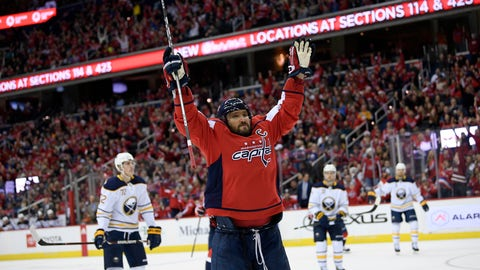 <p>               Washington Capitals left wing Alex Ovechkin (8), of Russia, celebrates his goal during the second period of an NHL hockey game against the Buffalo Sabres, Saturday, Dec. 15, 2018, in Washington. (AP Photo/Nick Wass)             </p>
