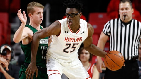 <p>               Maryland forward Jalen Smith (25) drives against Loyola-Maryland guard Sam Norton in the first half of an NCAA college basketball game, Tuesday, Dec. 11, 2018, in College Park, Md. (AP Photo/Patrick Semansky)             </p>