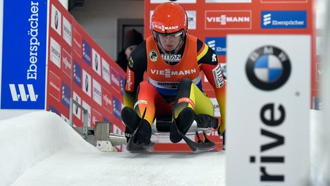 <p>               Natalie Geisenberger, of Germany, takes a training run for the luge World Cup on Friday, Dec. 14, 2018, in Lake Placid, N.Y. Competition begins on Saturday. (AP Photo/Hans Pennink)             </p>