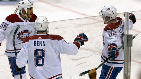 <p>               Montreal Canadiens left wing Artturi Lehkonen (62) celebrates his winning goal with teammates Jordie Benn (8) and Andrew Shaw (65) in the third period of play against the Florida Panthers in of an NHL hockey game, Friday, Dec. 28, 2018, in Sunrise, Fla. (AP Photo/Joe Skipper)             </p>
