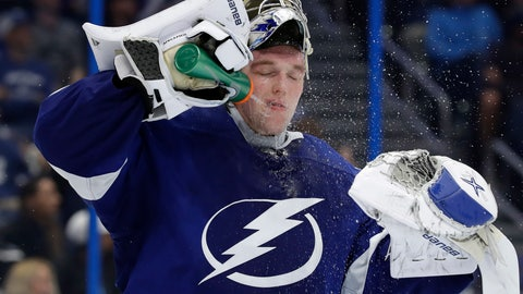 <p>               Tampa Bay Lightning goaltender Andrei Vasilevskiy (88) sprays water on his face during the third period of an NHL hockey game against the Toronto Maple Leafs Thursday, Dec. 13, 2018, in Tampa, Fla. (AP Photo/Chris O'Meara)             </p>