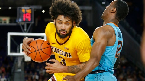<p>               Minnesota's Jordan Murphy (3) drives around Oklahoma State's Cameron McGriff during the first half of an NCAA college basketball game Friday, Nov. 30, 2018, in Minneapolis. (AP Photo/Bruce Kluckhohn)             </p>