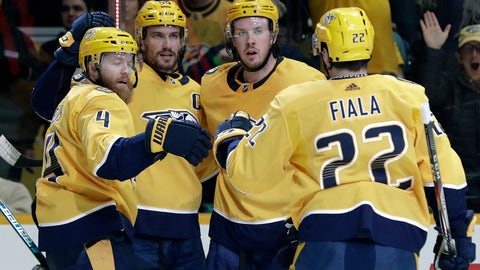 <p>               Nashville Predators defenseman Ryan Ellis (4) is congratulated after scoring a goal against the Ottawa Senators in the second period of an NHL hockey game Tuesday, Dec. 11, 2018, in Nashville, Tenn. (AP Photo/Mark Humphrey)             </p>