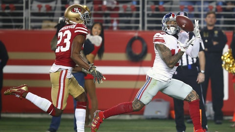 <p>               FILE - In this Nov. 12, 2018, file photo, New York Giants wide receiver Odell Beckham Jr., right, catches a touchdown pass in front of San Francisco 49ers cornerback Ahkello Witherspoon (23) during the second half of an NFL football game in Santa Clara, Calif. Odell Beckham Jr. will miss his second straight game with a quad injury. Coach Pat Shurmur said Friday, Dec. 14, 2018,  the NFL's highest-paid receiver won't play Sunday against the Tennessee Titans at MetLife Stadium. (AP Photo/Ben Margot, File)             </p>