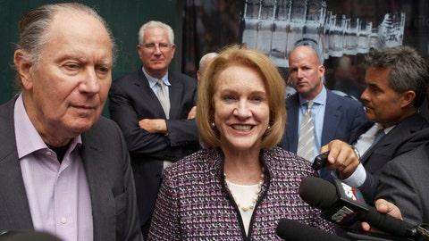 <p>               FILE - In this Oct. 2, 2018, file photo, Seattle Hockey Partners David Bonderman, left, and Seattle Mayor Jenny Durkan talk to the media as they leave a meeting at National Hockey League headquarters, in New York. The NHL Board of Governors is expected to vote to approve Seattle expansion at their two-day meeting and will get updates on collective bargaining talks and the concussion lawsuit settlement. (AP Photo/Mark Lennihan, File)             </p>