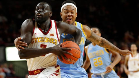 <p>               Iowa State guard Marial Shayok, left, is fouled by Southern University guard Richard Lee during the second half of an NCAA college basketball game, Sunday, Dec. 9, 2018, in Ames, Iowa. (AP Photo/Charlie Neibergall)             </p>