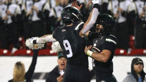 <p>               Ohio wide receiver Andrew Meyer (9) celebrates a touchdown by Ohio quarterback Nathan Rourke (12) in the first half of the Frisco Bowl NCAA college football game against San Diego State, Wednesday, Dec. 19, 2018, in Frisco, Texas. (AP Photo/Richard W. Rodriguez)             </p>