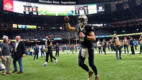 <p>               New Orleans Saints quarterback Drew Brees (9) reacts to the crowd as he runs off the field after their victory over the Pittsburgh Steelers in an NFL football game in New Orleans, Sunday, Dec. 23, 2018. The Saints won 31-28, clinching the top seed for the NFC and home field advantage for the playoffs. (AP Photo/Bill Feig)             </p>