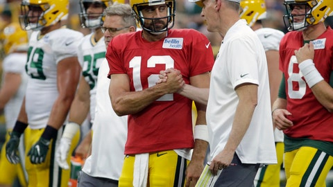 <p>               FILE - In this Aug. 4, 2018, file photo, Green Bay Packers quarterback Aaron Rodgers shakes hands with new offensive coordinator Joe Philbin during the NFL football team's Family Night practice in Green Bay, Wis. The Packers fired coach Mike McCarthy Sunday, Dec. 2, 2018, and made offensive coordinator Joe Philbin the interim head coach. (AP Photo/Mike Roemer, File)             </p>