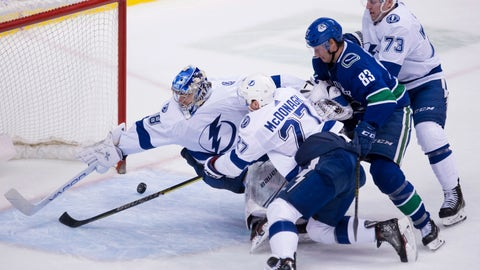 <p>               Tampa Bay Lightning goaltender Andrei Vasilevskiy (88) tries to stop Vancouver Canucks defenceman Christopher Tanev's goal as Tampa Bay Lightning defenceman Ryan McDonagh (27), Tampa Bay Lightning left wing Adam Erne (73) and Vancouver Canucks center Jay Beagle (83) look on during the third period of an NHL hockey game at in Vancouver, British Columbia, Tuesday, Dec. 18, 2018. (Jonathan Hayward/The Canadian Press via AP)             </p>