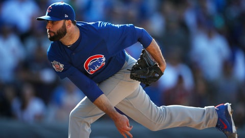 <p>               FILE - In this April 22, 2018, file photo, Chicago Cubs relief pitcher Brandon Morrow delivers to Colorado Rockies' David Dahl in the ninth inning of a baseball game in Denver. Cubs closer Morrow likely will miss the start of the season following arthroscopic surgery on his right elbow last month. President of baseball operations Theo Epstein says the operation took place Nov. 6, 2018. (AP Photo/David Zalubowski, File)             </p>