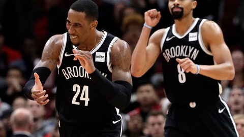 <p>               Brooklyn Nets forward Rondae Hollis-Jefferson, left, and guard Spencer Dinwiddie celebrate during the second half of an NBA basketball game against the Chicago Bulls, Wednesday, Dec. 19, 2018, in Chicago. The Nets won 96-93. (AP Photo/Nam Y. Huh)             </p>