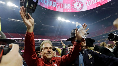 <p>               FILE - In this Jan. 8, 2018, file photo, Alabama head coach Nick Saban celebrates the Crimson Tide's overtime over Georgia in the NCAA college football playoff championship game in Atlanta. (AP Photo/David J. Phillip, File)             </p>