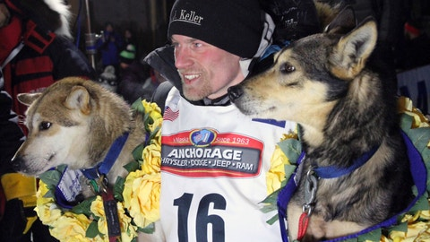 <p>               FILE - In this March 15, 2016, file photo, Dallas Seavey poses with his lead dogs Reef, left, and Tide after finishing the Iditarod Trail Sled Dog Race in Nome, Alaska. Iditarod officials have cleared a four-time champion of any wrongdoing in a dog-doping scandal that followed the sled dog race last year. Officials for the 1,000-mile (1,610 kilometer) Iditarod Trail Sled Dog Race issued a statement this week absolving Seavey of any involvement in the drugging of his dogs, the Anchorage Daily News reported. (AP Photo/Mark Thiessen, File)             </p>