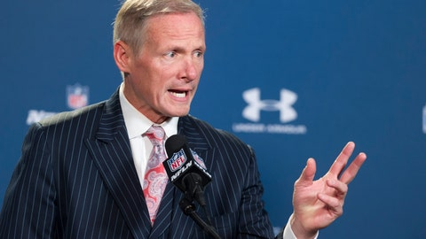 <p>               FILE - In this Feb. 21, 2015 file photo, NFL Network draft analyst Mike Mayock talks with reporters during a news conference at the NFL football scouting combine in Indianapolis. The Oakland Raiders have hired Mayock as their new general manager. A person familiar with the move confirmed the decision to bring Mayock aboard alongside coach Jon Gruden. The person spoke on condition of anonymity because the hiring hadn't been announced. ESPN first reported the move.   (AP Photo/Doug McSchooler, File)             </p>