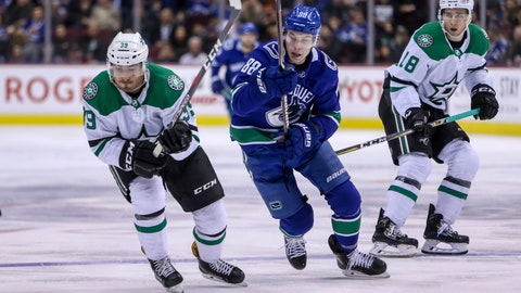 <p>               Dallas Stars' Joel Hanley (39) vies for control of the puck against Vancouver Canucks' Adam Gaudette (88) during second period NHL hockey action in Vancouver on Saturday, Dec. 1, 2018. (Ben Nelms/The Canadian Press via AP)             </p>