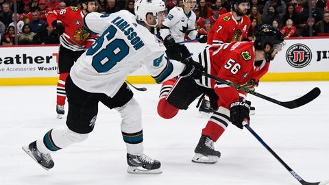 <p>               San Jose Sharks center Melker Karlsson (68) scores past Chicago Blackhawks defenseman Erik Gustafsson (56) during the first period of an NHL hockey game Sunday Dec. 16, 2018, in Chicago. (AP Photo/Matt Marton)             </p>
