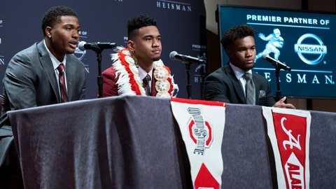 <p>               Heisman Trophy finalists, from left, Dwayne Haskins, from Ohio State; Tua Tagovailoa, from Alabama; and Kyler Murray, from Oklahoma, answer questions during a media event Saturday, Dec. 8, 2018, in New York. (AP Photo/Craig Ruttle)             </p>