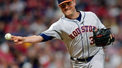 <p>               FILE - In this May 25, 2018, file photo, Houston Astros relief pitcher Joe Smith throws to first base in an attempt to pick off Cleveland Indians' Michael Brantley in the seventh inning of a baseball game in Cleveland. Smith had surgery Tuesday, Dec. 18, 2018, to repair a ruptured Achilles tendon and will be out six-to-eight months. the team said Thursday, Dec. 20, 2018. (AP Photo/David Dermer, File)             </p>