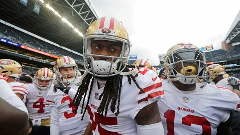 <p>               FILE - In this Sunday, Dec. 2, 2018, file photo, San Francisco 49ers cornerback Richard Sherman, center, huddles with teammates before an NFL football game against the Seattle Seahawks, in Seattle. The rematch between the Seahawks and 49ers is on Sunday, Dec. 16. (AP Photo/Elaine Thompson, File)             </p>