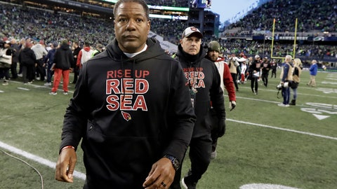 <p>               Arizona Cardinals head coach Steve Wilks walks off the field after an NFL football game against the Seattle Seahawks, Sunday, Dec. 30, 2018, in Seattle. The Seahawks won 27-24. (AP Photo/Ted S. Warren)             </p>