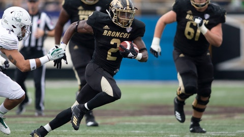 <p>               In this Oct. 6, 2018 photo Western Michigan Broncos running back LeVante Bellamy (2) runs the ball during an NCAA college football game against Eastern Michigan at Waldo Stadium, in Kalamazoo, Mich. Western Michigan faces BYU in the Famous Idaho Potato Bowl in Boise on Friday, Dec. 21, 2018. Bellamy has averaged 97.7 yards per game and finished the regular season with 1,172 yards rushing. (Mike Krebs/Muskegon Chronicle via AP)             </p>