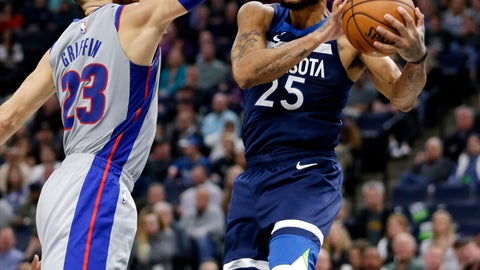 <p>               Minnesota Timberwolves guard Derrick Rose (25) shoots on Detroit Pistons forward Blake Griffin (23) in the second quarter of an NBA basketball game Wednesday, Dec. 19, 2018, in Minneapolis. (AP Photo/Andy Clayton-King)             </p>