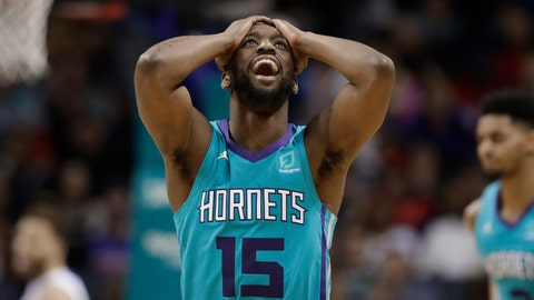 <p>               Charlotte Hornets' Kemba Walker (15) reacts after making a 3-point basket against the Detroit Pistons during the second half of an NBA basketball game in Charlotte, N.C., Friday, Dec. 21, 2018. (AP Photo/Chuck Burton)             </p>