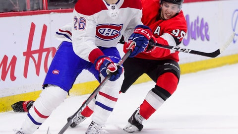 <p>               Ottawa Senators center Matt Duchene (95) tries to force a pass from Montreal Canadiens defenseman Jeff Petry (26) during first-period NHL hockey game action in Ottawa, Ontario, Thursday, Dec. 6, 2018. (Sean Kilpatrick/The Canadian Press via AP)             </p>
