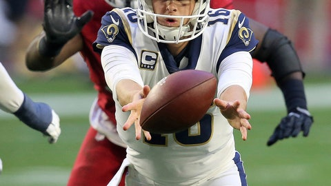 """<p>               File-This Dec. 23, 2018, file photo shows Los Angeles Rams quarterback Jared Goff (16) pitching the ball against the Arizona Cardinals during the second half of an NFL football game, in Glendale, Ariz. The Rams (12-3) will go for a six-game sweep of their three divisional opponents Sunday when they host the San Francisco 49ers (4-11). A win also secures the No. 2 playoff seed and a first-round bye, leaving Los Angeles with no shortage of motivation heading into the Coliseum. """"That's huge to show that,"""" Goff said of the potential sweep. """"To truly win the division with our record, but really win the division with our games against our division opponents, to be 6-0 would be saying something, for sure. That really means more."""" (AP Photo/Ross D. Franklin, File)             </p>"""