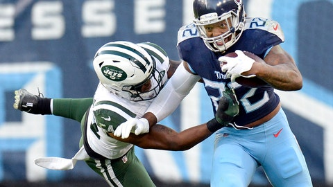 <p>               Tennessee Titans running back Derrick Henry (22) carries the ball against New York Jets inside linebacker Avery Williamson (54) in the first half of an NFL football game Sunday, Dec. 2, 2018, in Nashville, Tenn. (AP Photo/Mark Zaleski)             </p>