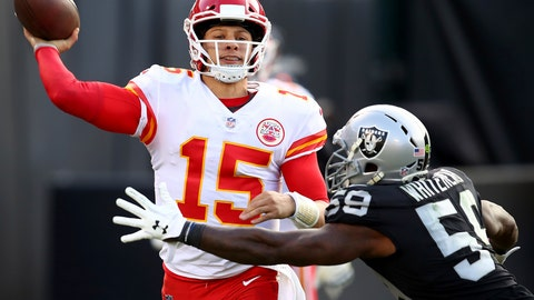 "<p>               FILE - In this Dec. 2, 2018, file photo, Kansas City Chiefs quarterback Patrick Mahomes (15) passes against Oakland Raiders linebacker Tahir Whitehead (59) during the second half of an NFL football game in Oakland, Calif. ""I think the message for the whole team is we're not satisfied with where we're at,"" says Chiefs quarterback Patrick Mahomes. Kansas City can clinch top seed in the AFC and the AFC West under certain circumstances. (AP Photo/Ben Margot, File)             </p>"
